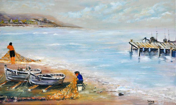 embarcadero en la playa