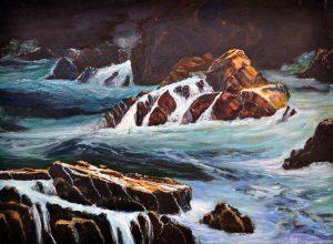 Mar y rocas cuadro pintura Josep Regueiro